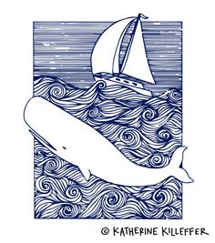 moby dick bookplate illustration | pen and ink | ©katherinekilleffer.com - work cannot be reproduced in any way without artist's permission
