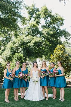 Merrimon Wynne House Wedding - Blue Bridesmaids Dresses - Brett & Jessica Photography - NC Wedding Planner Orangerie Events