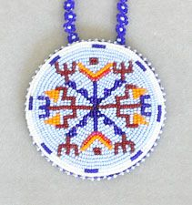 Rave blues/multi beaded medallion necklace, Cheyenne River Sioux