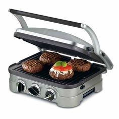 Cuisinart Griddler Multifunctional Grill ($100) ❤ liked on Polyvore featuring home, kitchen & dining, small appliances, stainless, steak grill, cuisinart griddle, pancake griddle, nonstick griddle and cuisinart panini grill