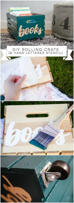 DIY rolling book crate- I love that stencilled label! The natural wood looks so great