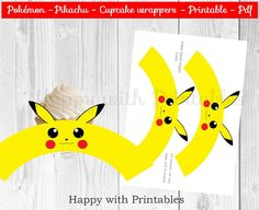 Pokémon GO cupcake wrappers Pikachu by HappywithPrintables