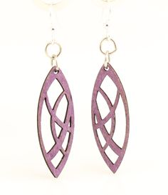 Made In U.S.A Style # 119A is photgraphed above in our new Violet color made from sustainably sourced materials Ear wires are silver-finished 3041 stainless steel with new electrophoretic-coating that resists tarnishing All blossoms earring sizes are less than a square inch in size