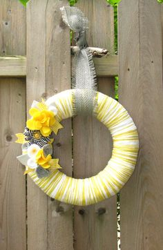 "12"" Yellow yarn wreath with gray, white and yellow felt flowers - The Mckenna. $38.00, via Etsy."
