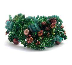 Freeform beaded jewelry, Beadwork bracelet, Seed bead bracelet, seed bead jewelry, handmade jewelry, autumn, fall colors