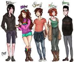 Gravity Falls - Robbie, Mabel, Dipper, Wendy and Norman Reverse Gravity Falls, Gravity Falls Fan Art, Reverse Falls, Gravity Falls Journal, Gravity Falls Dipper, Teen Titans, Monster Falls, Grabity Falls, Pinecest