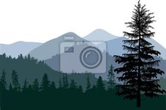 Wall Mural dark illustration with mountain forest