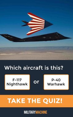 Take our quiz and test your knowledge of different military aircraft! Is this an F-117 Nighthawk or a P-40 Warhawk? Maybe it's an SR-71 Blackbird... If you enjoy quizzes and trivia, this one will surely test you. It covers a variety of military aircraft from fighter jets and helicopters to transport planes and stealth bombers. Let's see what you've got! #military #nighthawk #f1117 #sr71 #blackbird #aviation #quiz #quizzes #trivia #militaryaviation #aircraft