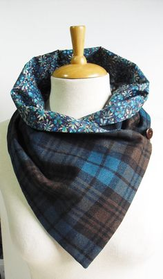 Scottish Tweed/Plaid Scarf/Snood with Liberty by IvyCottageTweeds