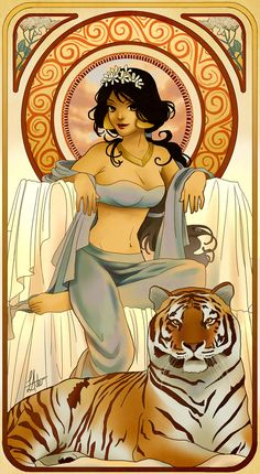 Jasmine, Aladdin | These Mucha Inspired Disney Princesses Are Stunning