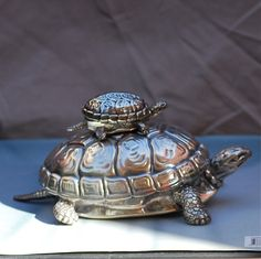 Fantastic Buccellati Sterling Silver Turtle Boxes Mama and Baby Turtle Mint | eBay