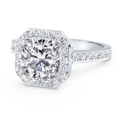 Engagement Ring - Cushion Diamond Engagement Ring Halo pave in 14K White Gold