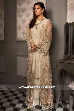 Made-to-measure high quality Pakistani Fashion Dresses at Dres Republic. Pakistani Dress Design, Pakistani Dresses, Anarkali Dress, Long Jackets, Flare Dress, Designer Dresses, Nice Dresses, Fashion Dresses, Tulle