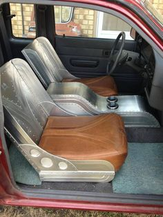 Interior designed, built, installed by Ryan. Custom Car Interior, Car Interior Design, Truck Interior, Auto Design, 4x4, Pick Up, Bomber Seats, Metal Shaping, Car Upholstery