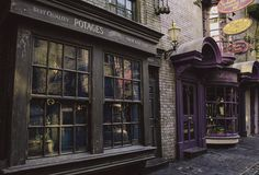 "'Potage's Cauldron Shop was the first shop one encountered when entering North Side, Diagon Alley from the Leaky Cauldron. It sold all types of cauldrons, displaying them in a stack outside the shop, under a sign which read: ""Cauldrons - All Sizes - Copper, Brass, Pewter, Silver - Self-Stirring - Collapsible."" It is owned by Madam Potage. A branch of the shop is also located in Hogsmeade, and one is located in Knockturn Alley.'"