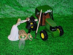 Unique John Deere Wedding Cake Topper With John Deere Tractor ...