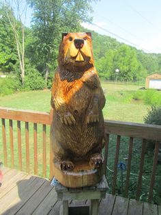 Chainsaw Carving Chainsaw Carved Beaver by GearysCustomCarvings, $495.00
