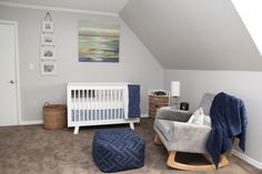 Clean and Simple Blue and Gray Nursery - love the modern furniture pieces!