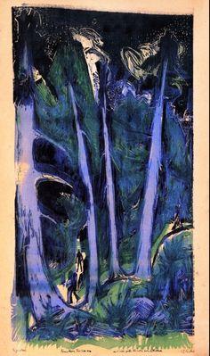 Ernst Ludwig Kirchner (1880-1938) Brücke-kunstenaars wilden de essentie van het creatief vermogen direct en eerlijker in beeld brengen en aldus hun eigen emotie manifesteren. Inspiratie daartoe zochten ze in het omringende leven, vooral in de natuur, in doordringende studies van het vrouwelijk naakt en in het stadsleven.