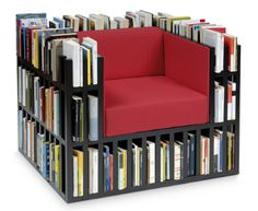 Bookshelf chair!  It takes me so long to read one book, I'd never need a chair like this.