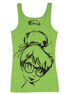 DISNEY PETER PAN NERDY HIPSTER TINKERBELL JUNIORS T-SHIRT TANK TOP S M L XL #Disney #GraphicTee