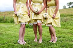 yellow bridesmaids dresses via style me pretty Berry Wedding, Yellow Wedding, Farm Wedding, Wedding Bride, Dream Wedding, Yellow Bridesmaid Dresses, Bridesmaid Flowers, Bridal Dresses, Flower Girl Dresses