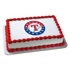 Texas Rangers, Traditional Flat Cake on White with Red Trim, 1/4, 1/2, or Full Sheet, White or Chocolate