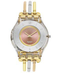 Swatch Watch, Women's Swiss Tri-Gold Large Tri-Tone Stainless Steel Three Bar Bracelet 34mm SFK240A    Web ID: 679139