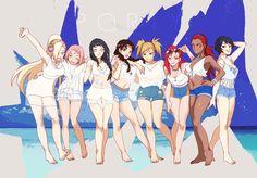 Ino, Sakura, Hinata, Tenten, Temari, Karin, Karui, and Kurotsuchi