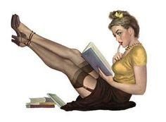 Pin up girl reading. Poses Pin Up, Pinup Art, Pin Up Vintage, Poster Vintage, Vintage Images, Vintage Art, Vintage Style, Vintage Ladies, Girl Reading