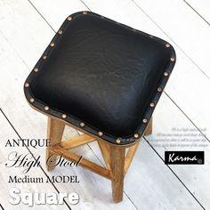 【楽天市場】オールドチークの□ウッドハイスツール(Medium)(レザー)/アジアン家具・バリ家具。ナチュラルブラウン色で、アンティーク仕上のモダンデザイン。 アジアンリゾートインテリア、キッチン、カウンターそして業務用にも。耐久性が高い木製椅子です。送料無料:ビギンリゾートギャラリー