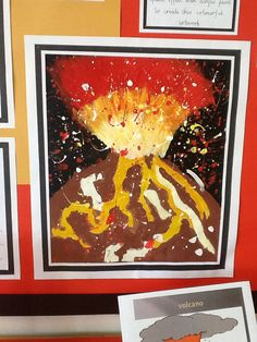 Y5 art work. KS2 interpretation of volcano using acrylic paint.