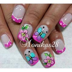 Cute Nail Art, Cute Nails, Pretty Nails, My Nails, Orange Nail Designs, Toe Nail Designs, Cute Spring Nails, Summer Nails, Butterfly Nail Art