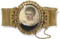 An early 19th century portrait miniature and gold bracelet  The central oval painted ivory portrait miniature depicting a young girl, to a three colour gold border with flowerhead and cannetille detail and mesh bracelet with cannetille terminals, circa 1830, cased.