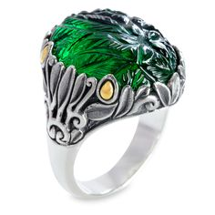 Carved Evergreen Hydra Quartz Sterling Silver Ring with 18K Gold Accen | Cirque Jewels