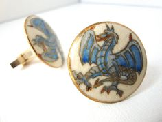 Vintage Satsuma Porcelain Hand Painted Gilt Winged Dragon Cuff links. $40.00, via Etsy.