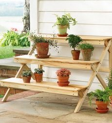 Three-Tier Varnished Wood Plant Stand