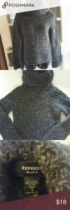 Express hand knit Hand kind turtleneck from express gray and black woven together looks more of a gray color  16 inches from armpit to armpit  22 inches from shoulder to bottom of shirt Express Sweaters Cowl & Turtlenecks
