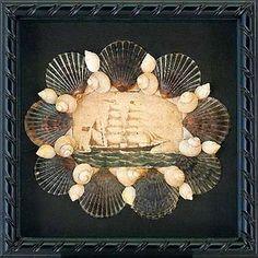 Seashell & decopupage shadowbox with Whaleship at Sea and Nantucket Scallop Shells.