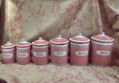 Kitchen 6 ANTIQUE ENAMELWARE STORAGE CANISTER IN FRENCH SIGNED BB Red strips | eBay