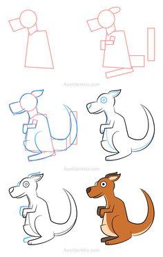 How to draw a kangaroo - Comment dessiner un kangourou