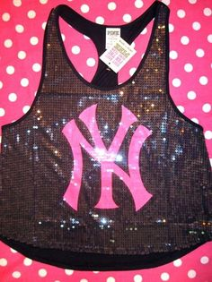 New Victoria Secret Pink NY Yankees MLB Bling Sequin Tank Top Tee T Shirt M | eBay