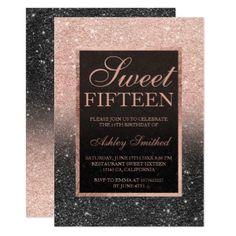 Black rose gold glitter elegant chic Sweet 15 Card - invitations custom unique diy personalize occasions