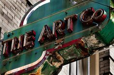 A colorful and soulfully dilapidated sign for The Art Co. Broadway Shows, Neon Signs, Rust, San Francisco, Green