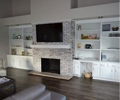 Gorgeous Living Room with Built-In Fireplace
