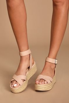 No look would be complete without the Chinese Laundry Zala Nude Nubuck Espadrille Flatform Sandals! Tan Wedge Sandals, Nude Sandals, Girls Sandals, Leather Sandals, Leather Boots, Cowboy Boots Women, Cowgirl Boots, Western Boots, Riding Boots