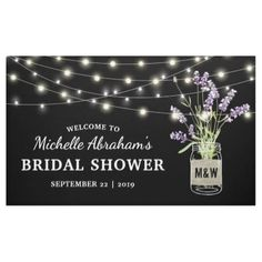 Rustic Lavender Mason Jar Lights Bridal Shower Banner - rustic wedding marriage love cyo