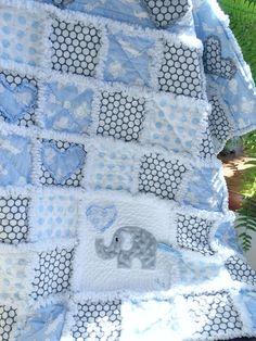 Rag Quilt, Elephant Rag Quilt, Baby Boy Rag Quilt, Baby Zoo Quilt, Blue Nursery Bedding, Elephant Quilt, Baby Shower, Nursery Decor,