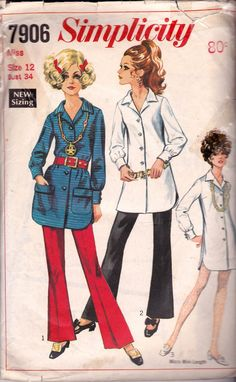Simplicity 7906 Vintage Sewing Pattern Shirt Micro Mini Shirtdress & Bell Bottom Pants Size 12 Bust 34 Inches