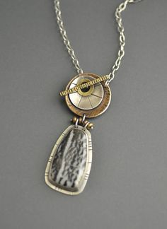 Zebra Stone Toggle Necklace mixed metal pendant front toggle